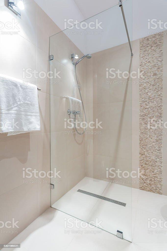 Shower with glass door stock photo