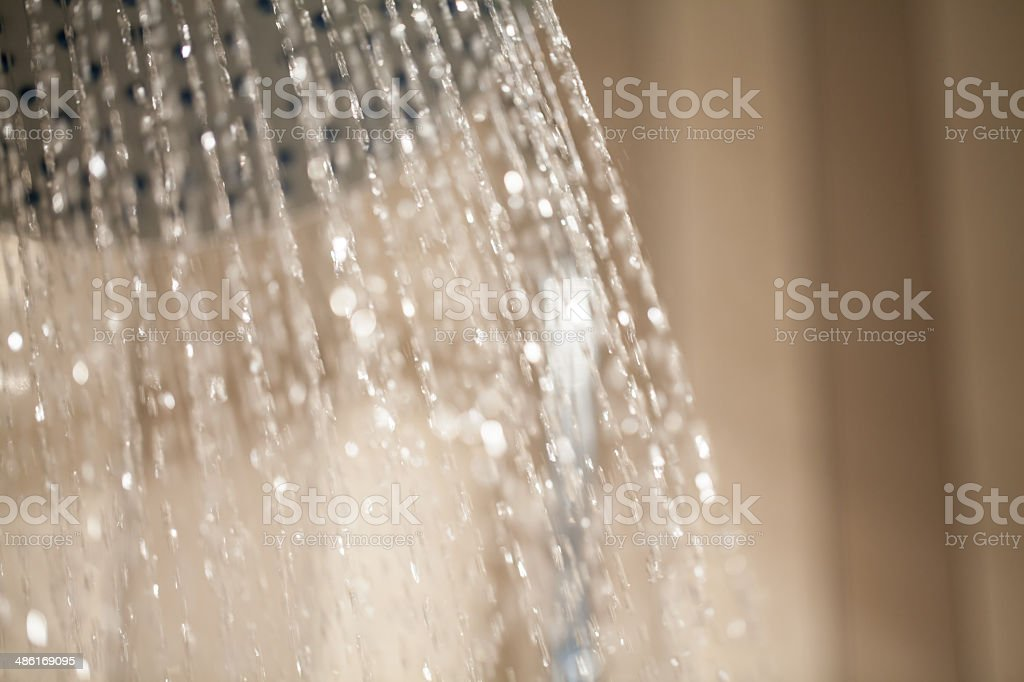 Shower with Running Water Drops stock photo