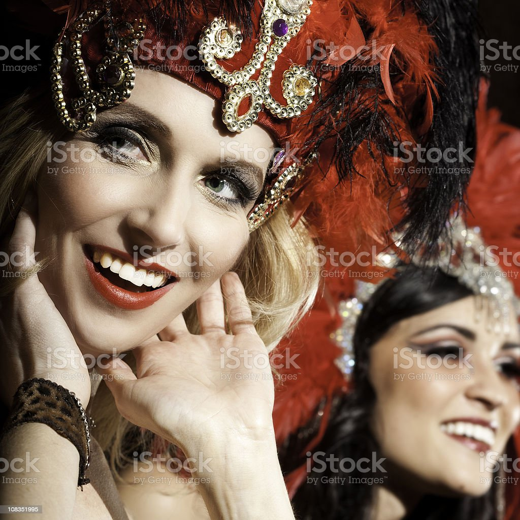 Showgirl Closeup Smiling on Stage royalty-free stock photo