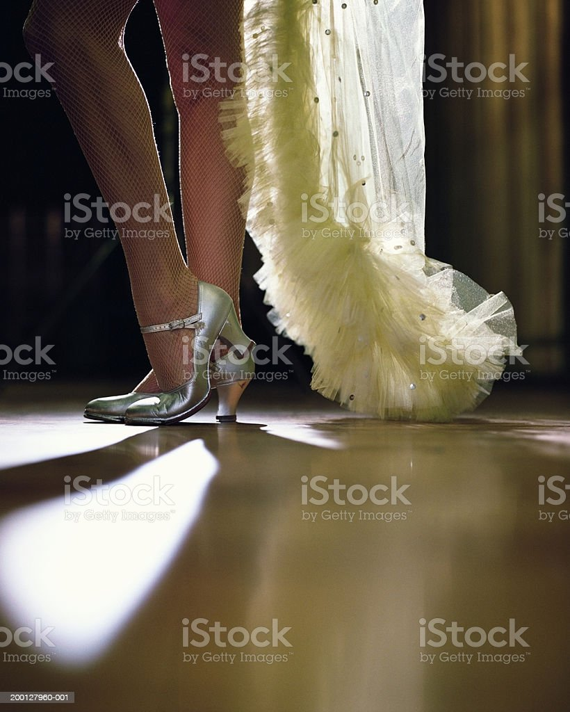 Showgirl wearing fishnet stockings, low section stock photo