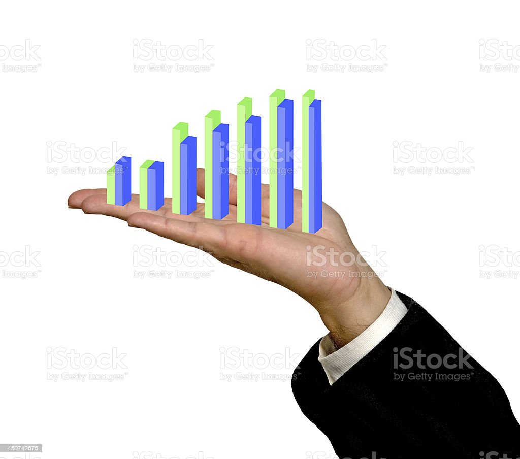 Showing a bar chart stock photo