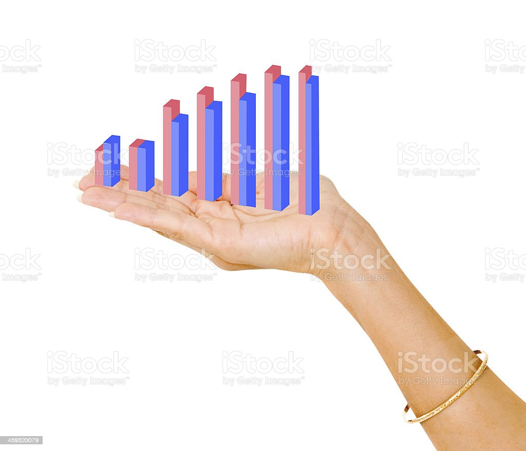 Showing a bar chart royalty-free stock photo