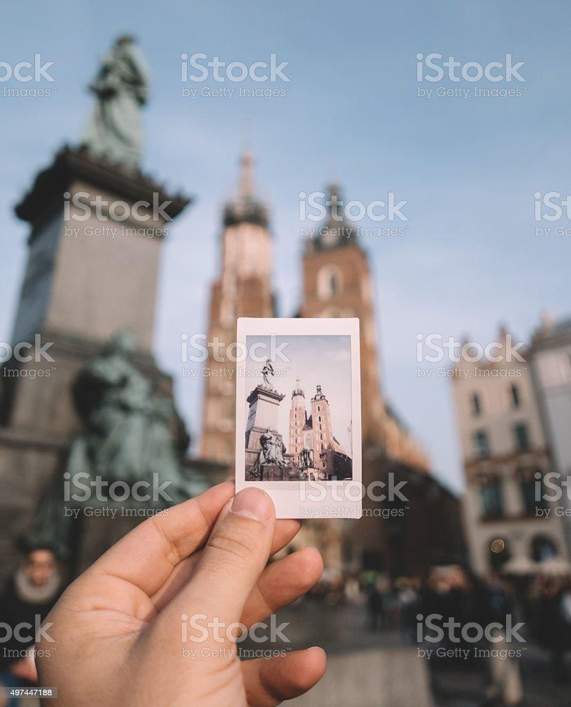 Showing a polaroid photo of Poland stock photo