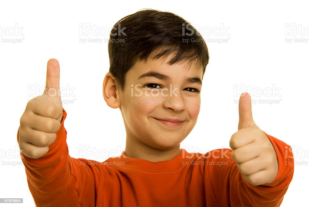 Showing a thumbs up stock photo