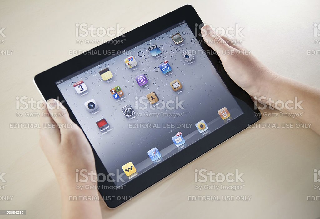Showing Apple iPad2 Homepage royalty-free stock photo