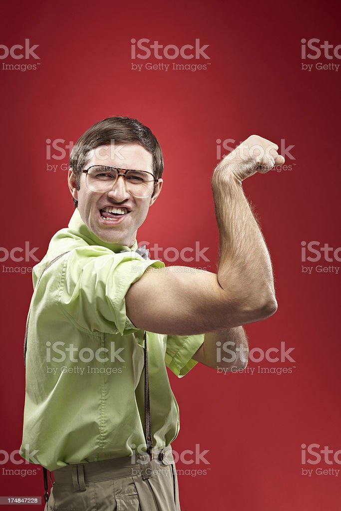 Showing biceps royalty-free stock photo
