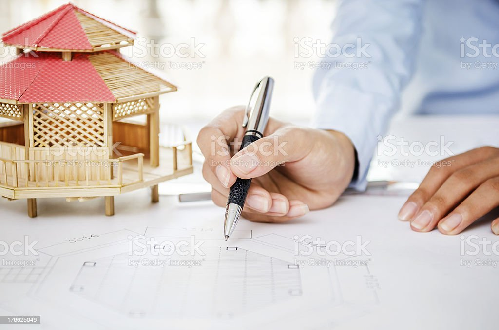 Showing blueprint royalty-free stock photo