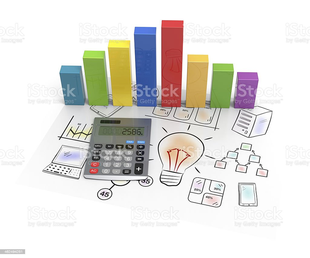 Showing business and financial report stock photo
