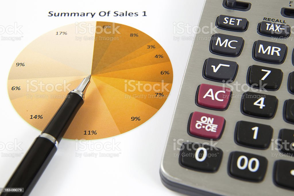 Showing business and financial with calculator royalty-free stock photo