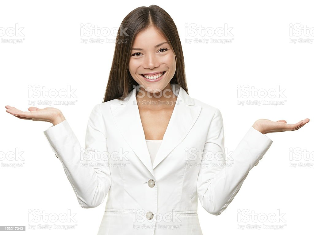 Showing business woman stock photo