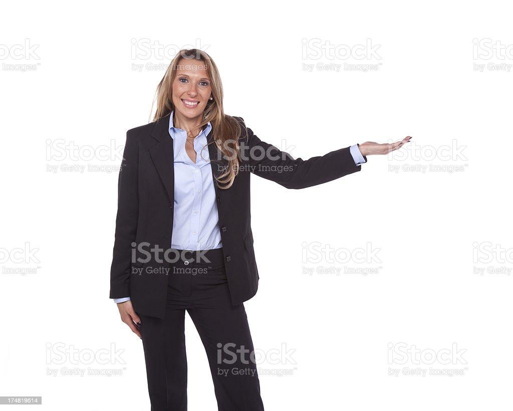 Showing businesswoman, isolated on white background royalty-free stock photo