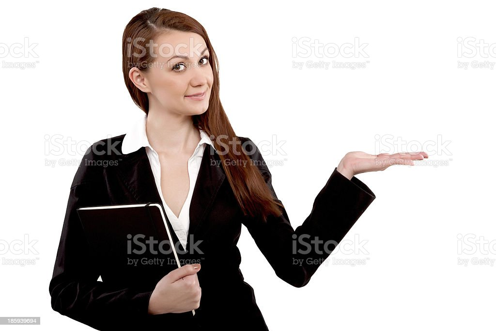 Showing businesswoman, isolated on white - Stock Image royalty-free stock photo