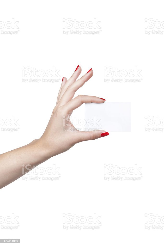 showing contacts in the hand stock photo