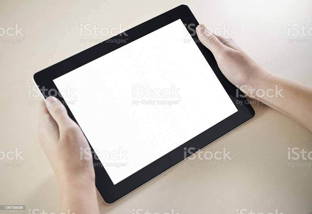 Showing Electronic Tablet PC royalty-free stock photo