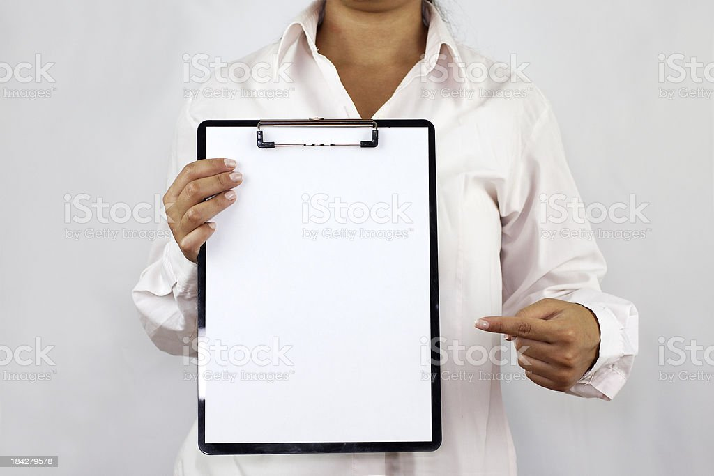Showing empty paper royalty-free stock photo
