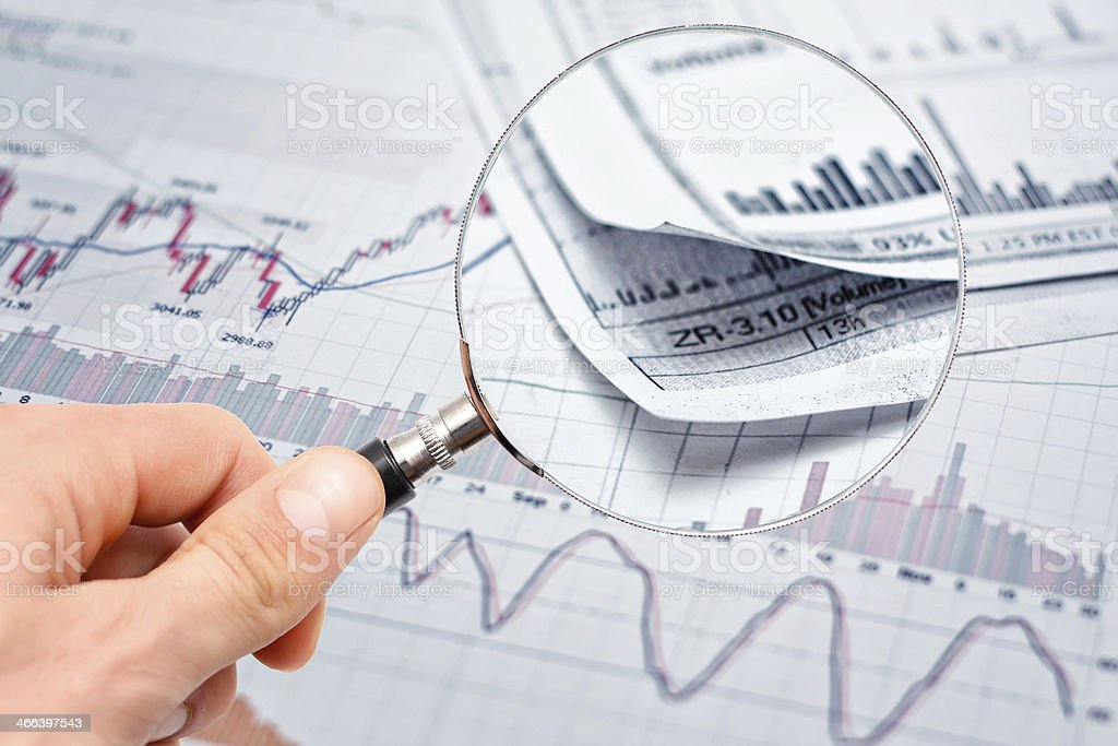 Showing financial report stock photo