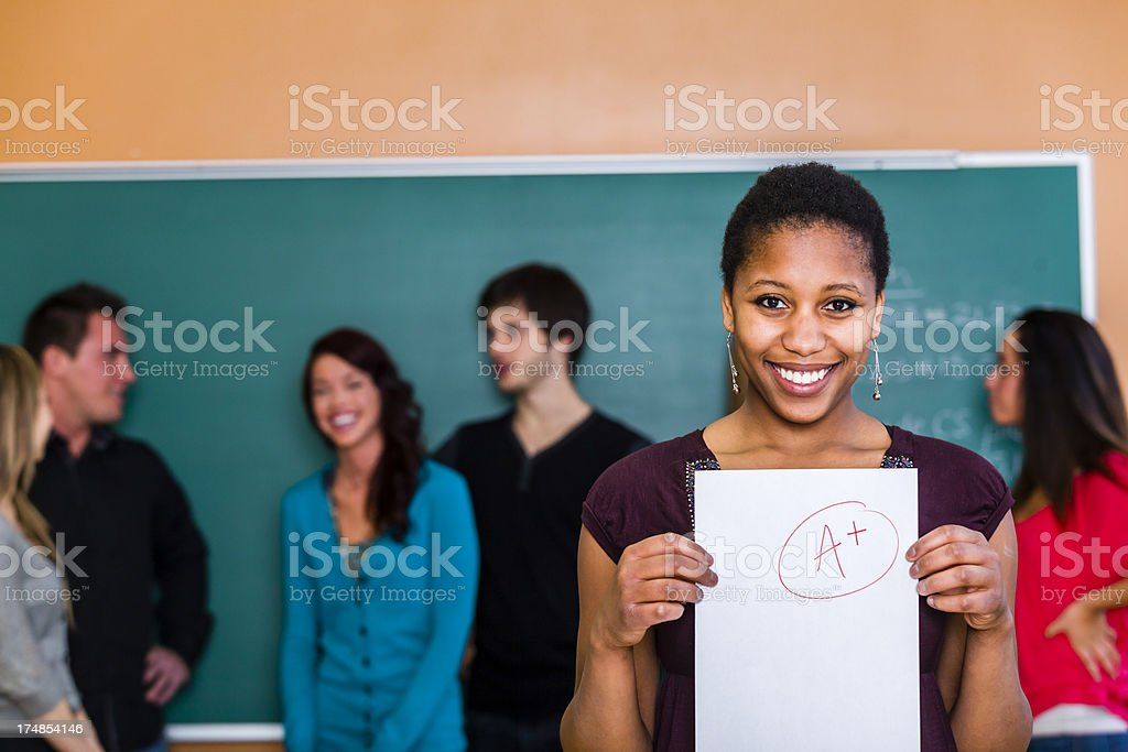 Showing her score royalty-free stock photo