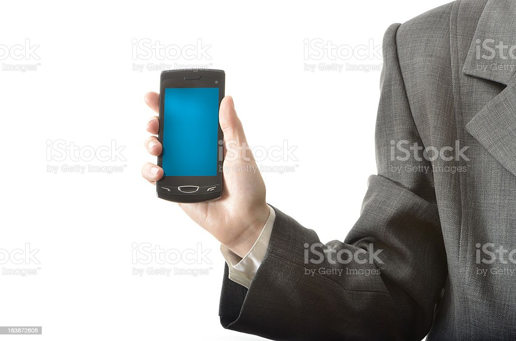 Showing Mobile Phone royalty-free stock photo
