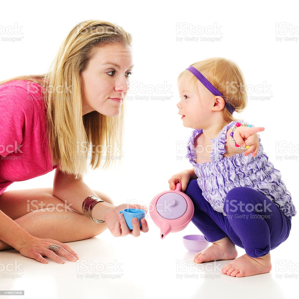 Showing Mommy Where It Is stock photo