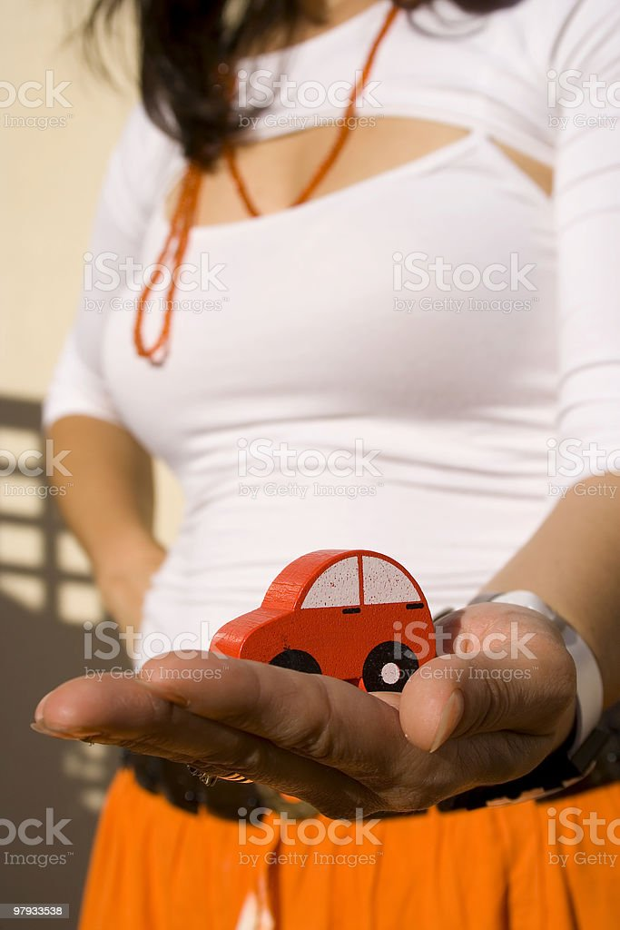 Showing my new car 2 stock photo