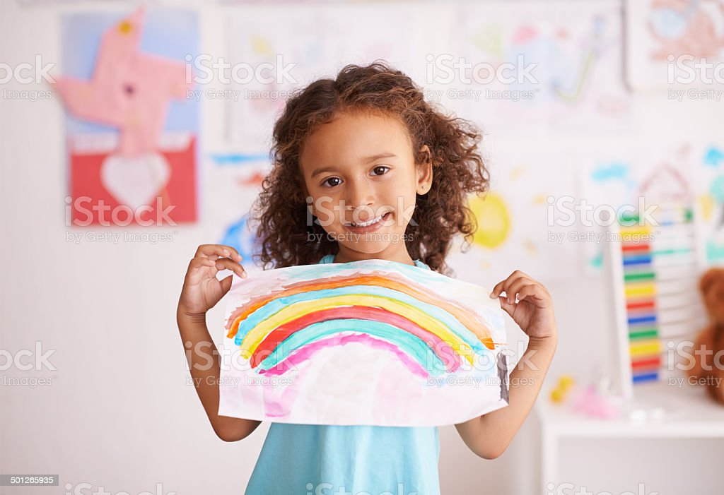 Showing off her creative work stock photo