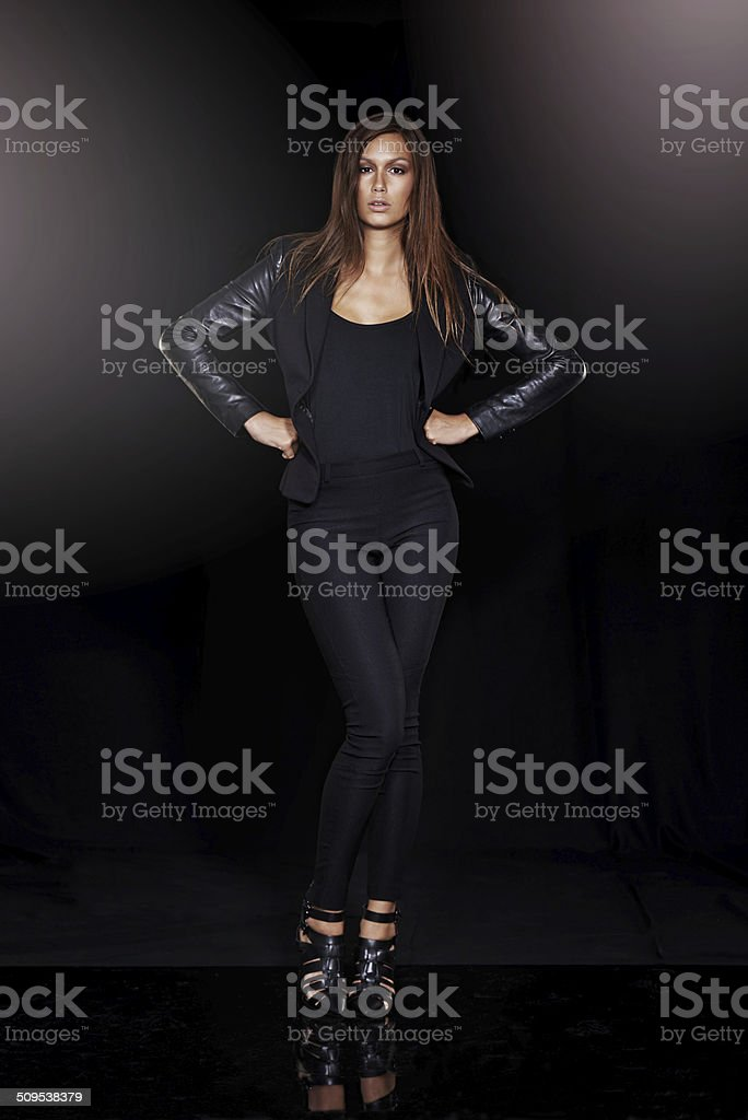 Showing off her dark side stock photo