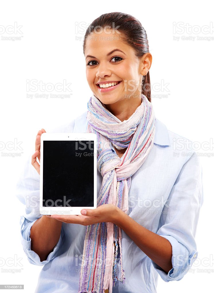 Showing off her new tablet royalty-free stock photo