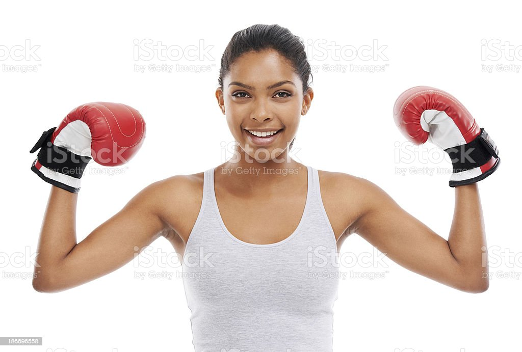 Showing off her toned arms royalty-free stock photo