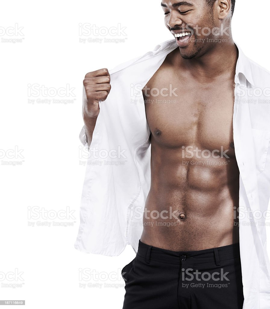 Showing off his athletic body royalty-free stock photo