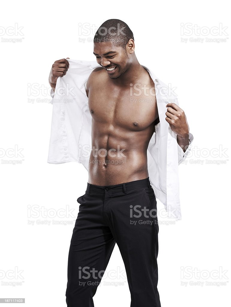 Showing off his perfect 6-pack royalty-free stock photo