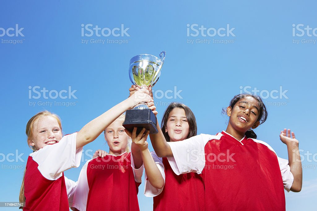 Showing off the trophy royalty-free stock photo