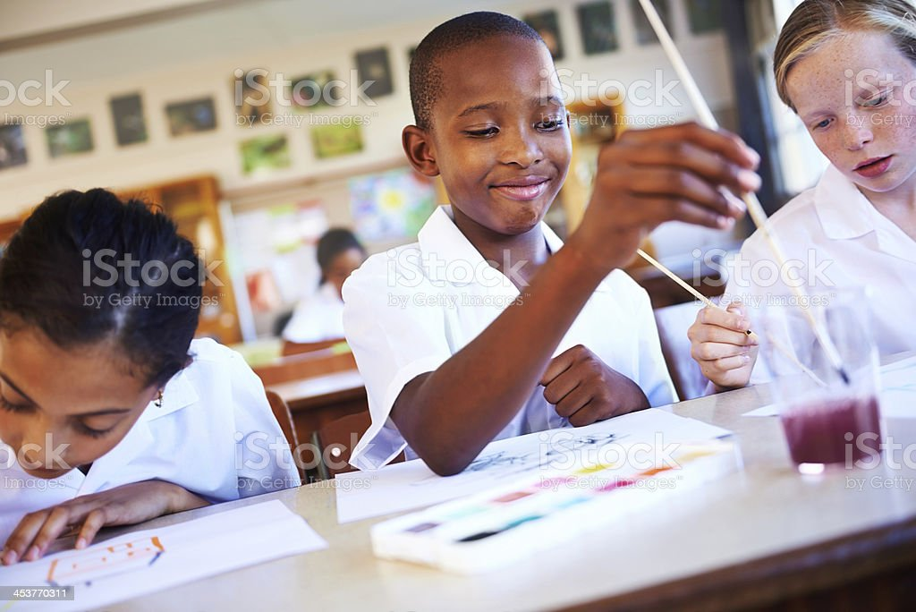 Showing off their creativity stock photo