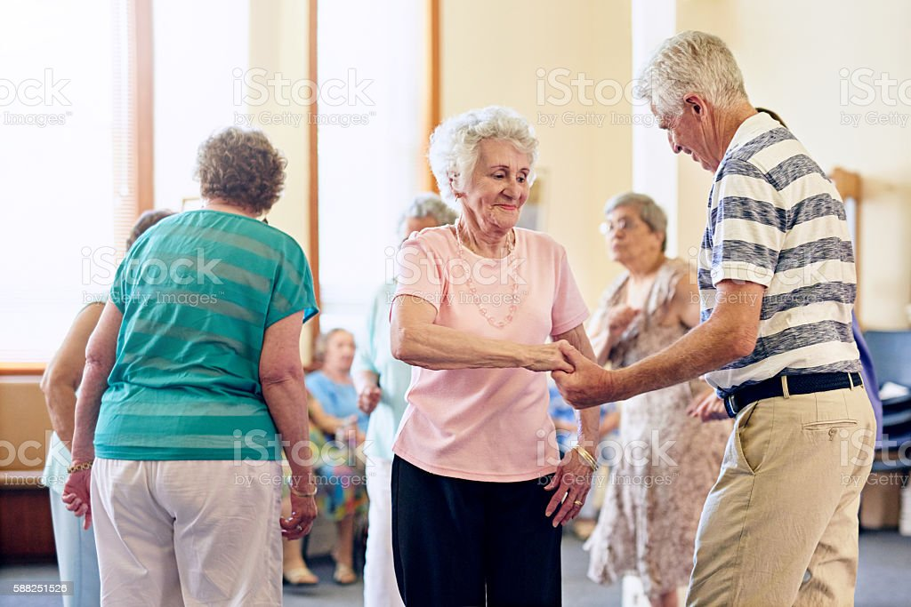 Showing off their dance moves stock photo