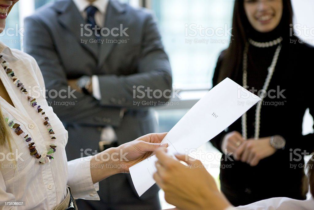 Showing paperwork royalty-free stock photo