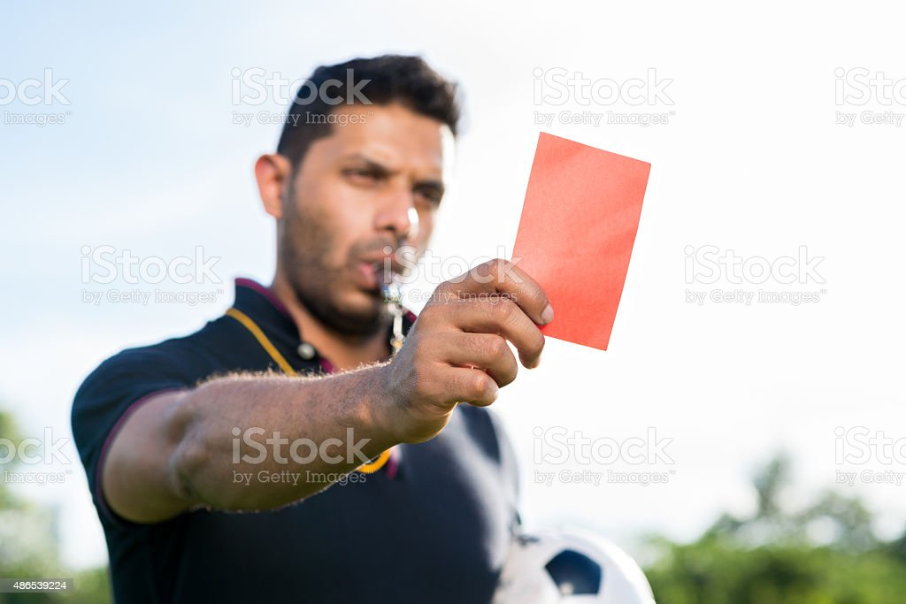 Showing penalty card stock photo