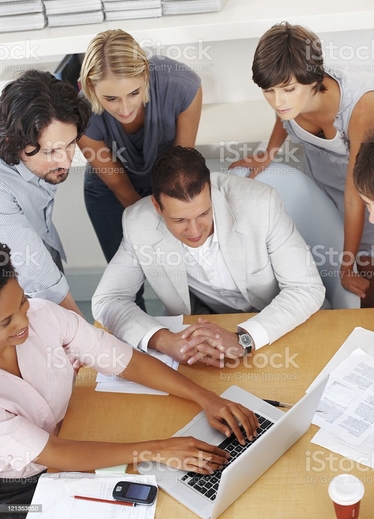 Showing plan on a laptop royalty-free stock photo