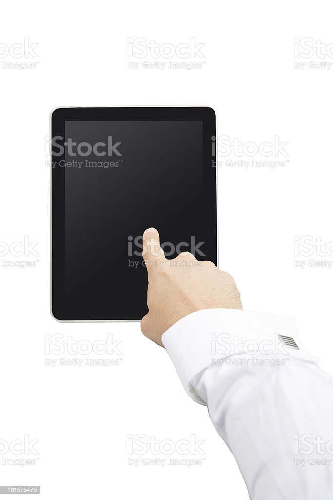 Showing Tablet Pc (Clipping Path on Screen) royalty-free stock photo