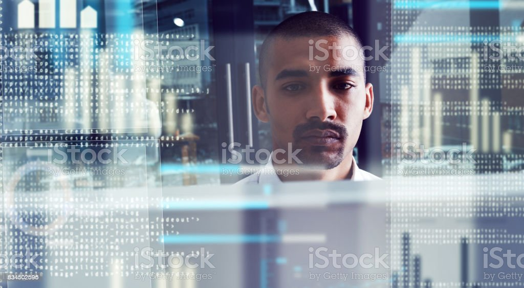 Showing the code what he's made of stock photo