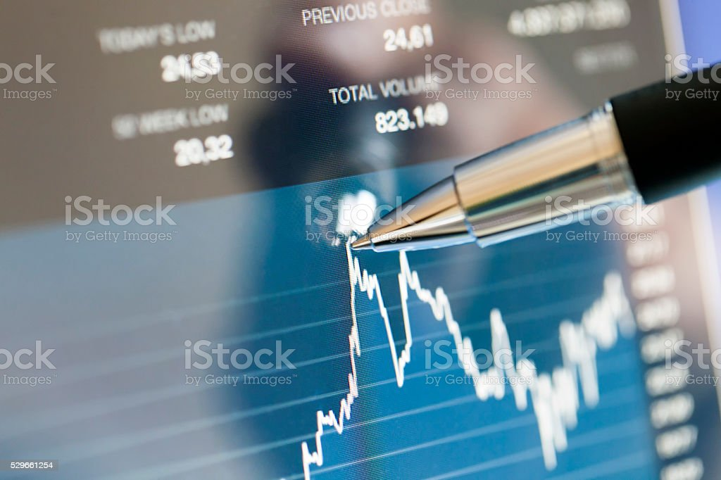 Showing The Peak Point on a Computer Screen stock photo