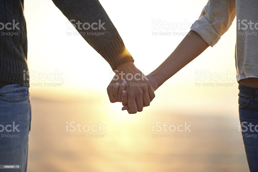 Showing their commitment to the relationship stock photo