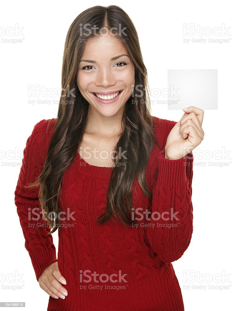 showing woman presenting gift card royalty-free stock photo