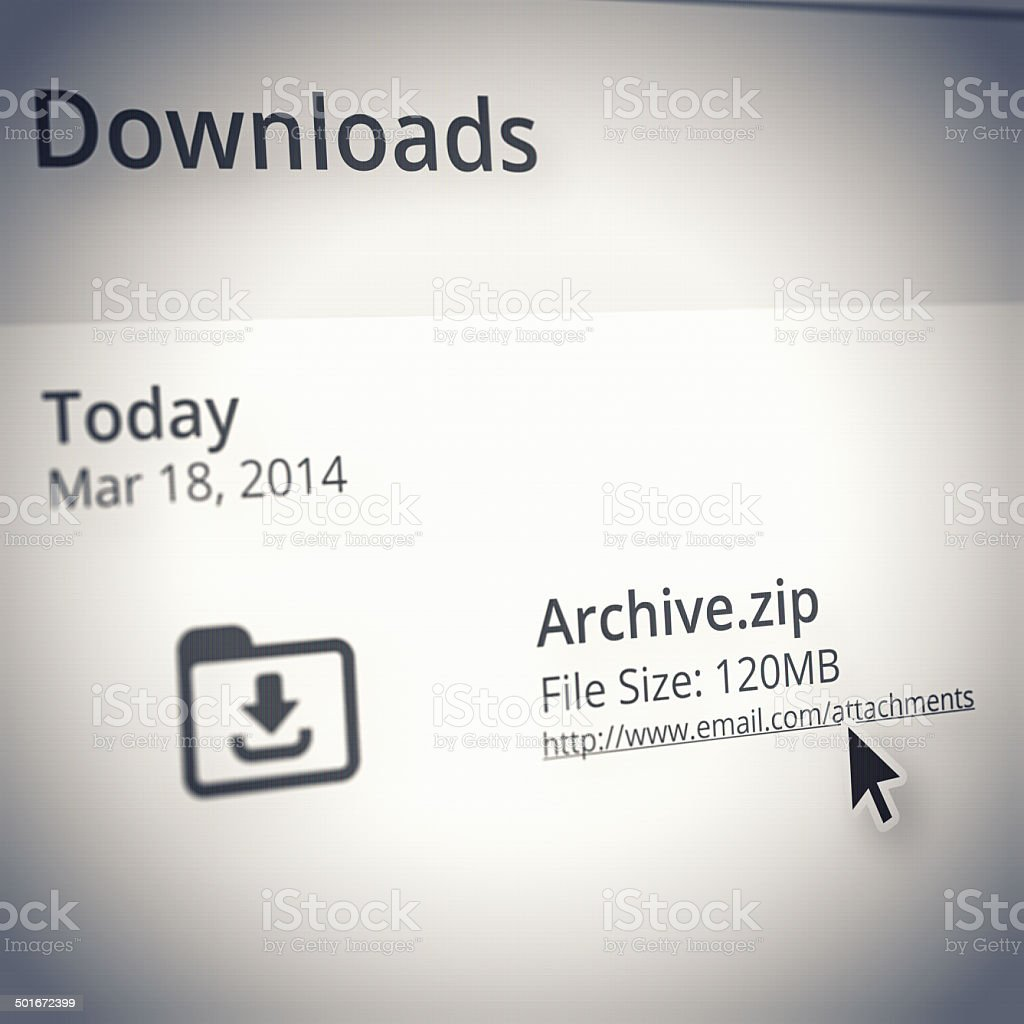 Showing you a history of your downloads stock photo