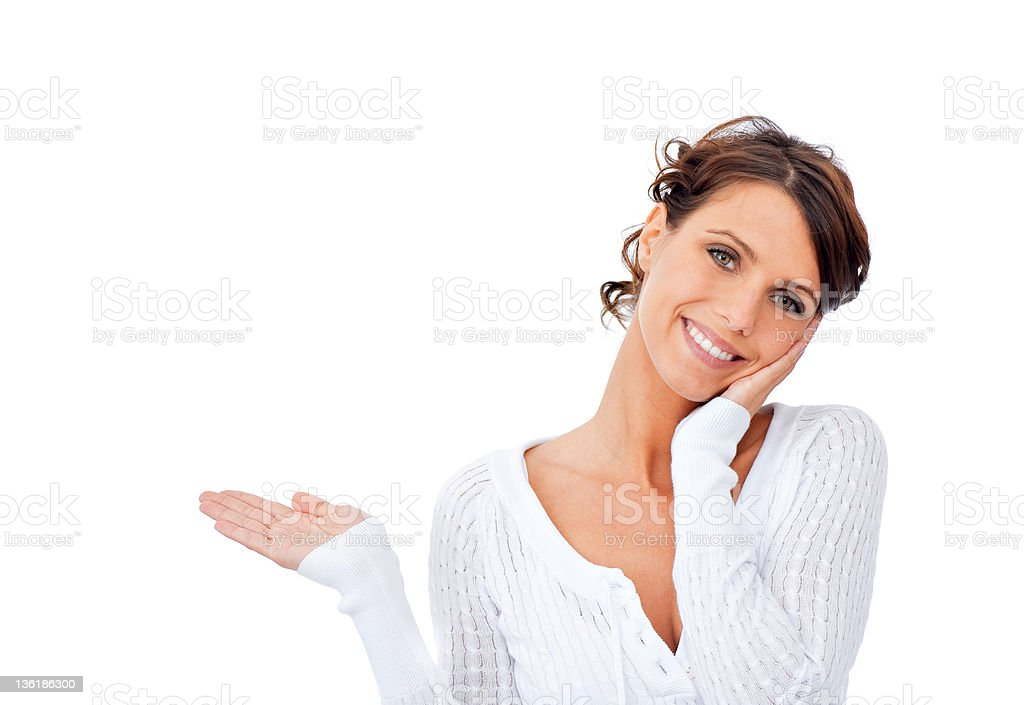 Showing young woman royalty-free stock photo
