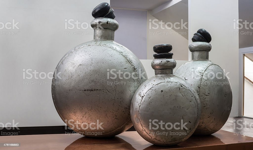 Showroom interior featuring antique alumina perfume bottles royalty-free stock photo