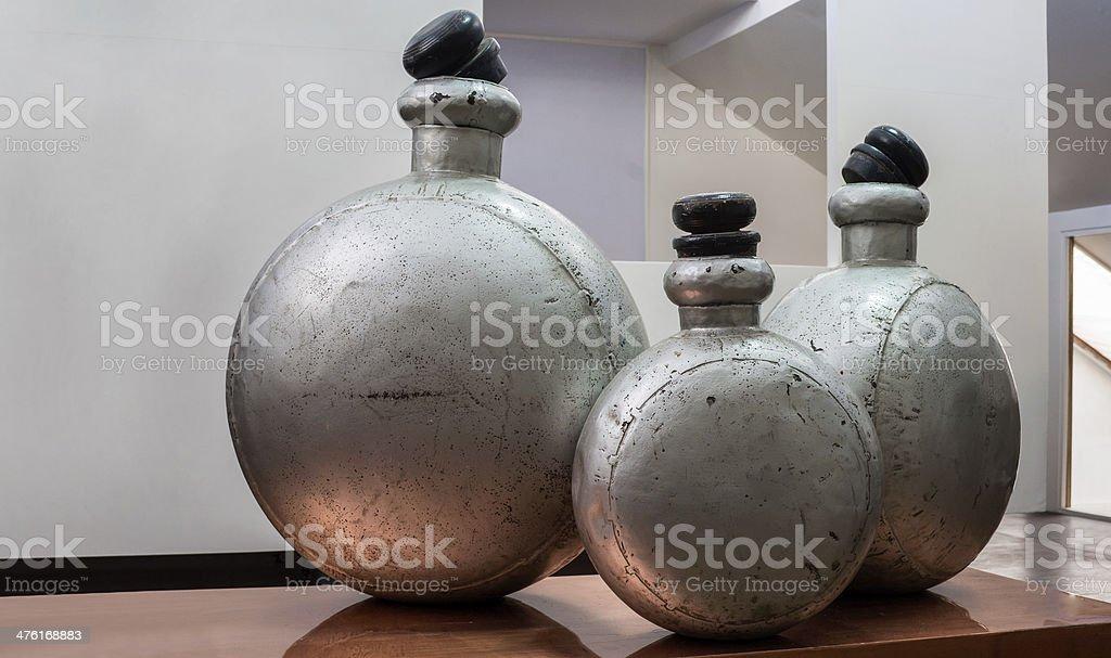 Showroom interior featuring antique alumina perfume bottles stock photo