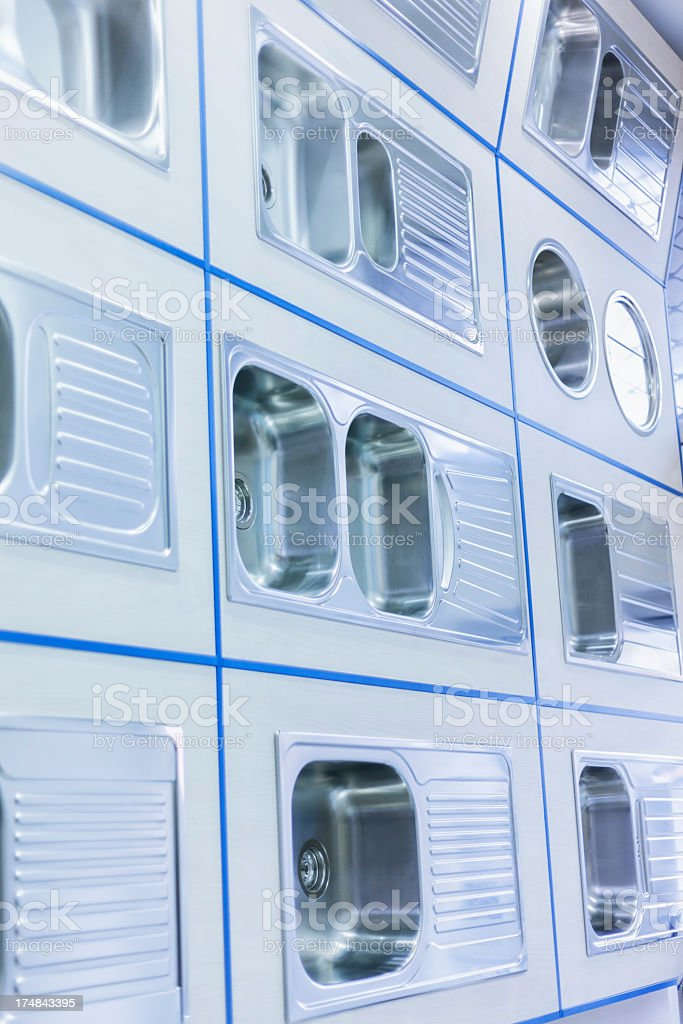 Showroom with kitchen sinks royalty-free stock photo