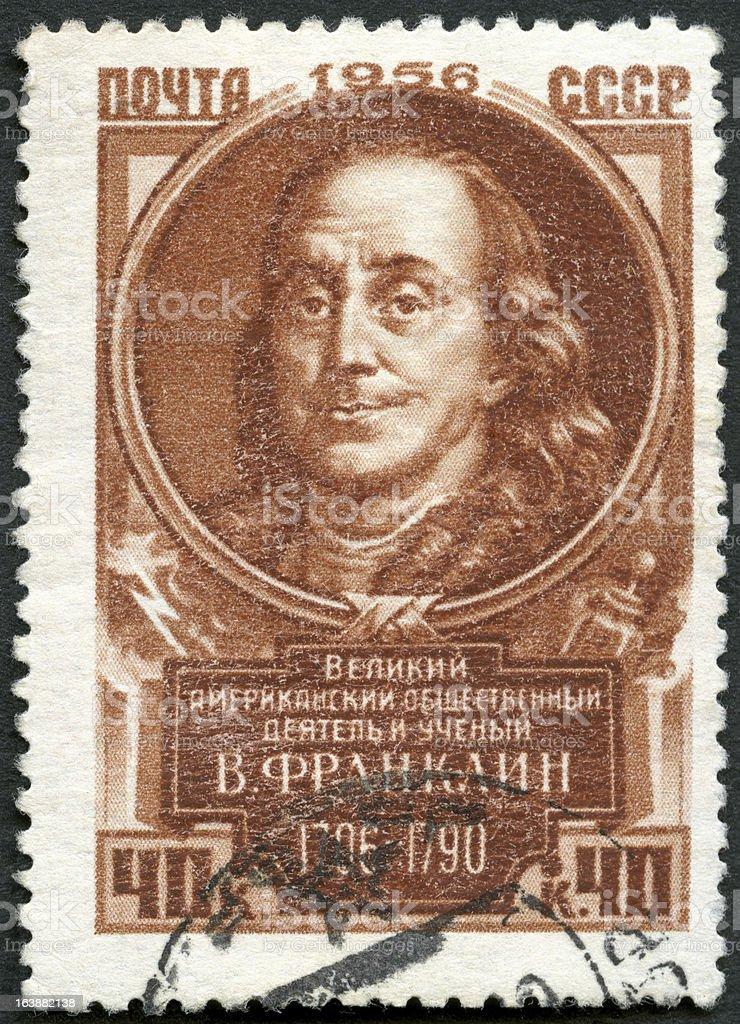 USSR 1956 shows Benjamin Franklin (1706-1790) royalty-free stock photo