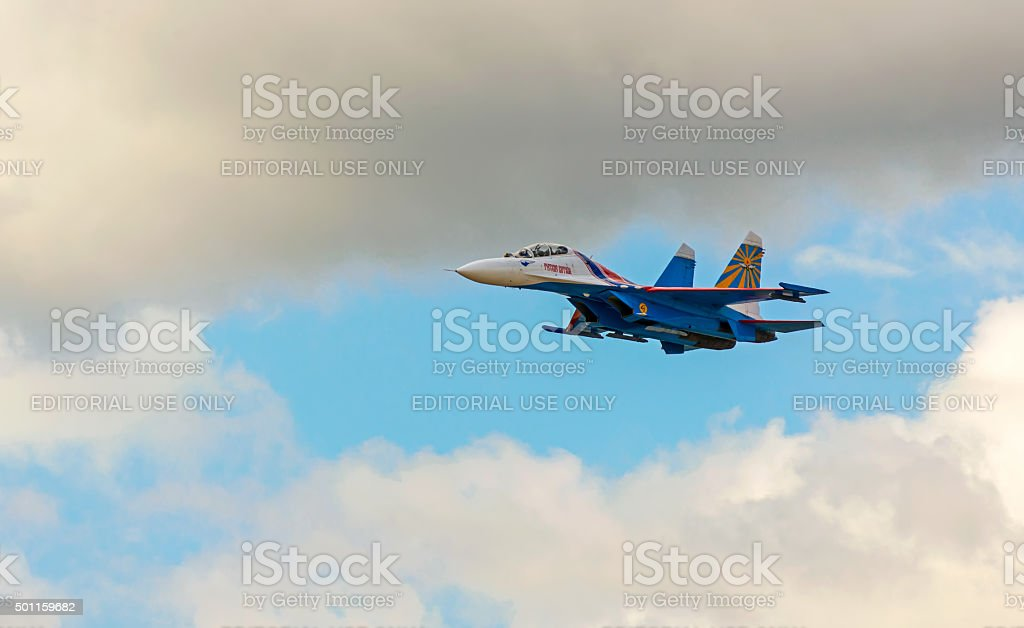 Shows demonstration flight at MAKS 2015. stock photo