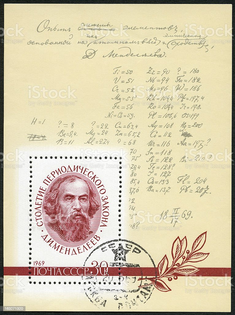 USSR 1969 shows D.I. Mendeleev (1834-1907) and Formula Author's Corrections royalty-free stock photo