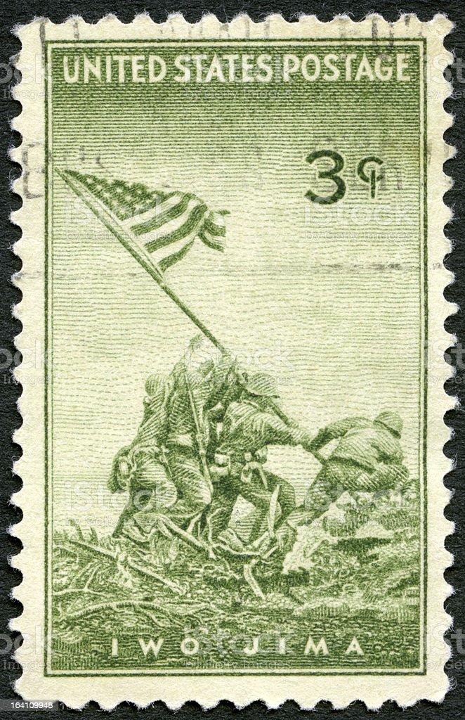 USA 1945 shows Marines Raising Flag Mount Suribachi, Iwo Jima stock photo